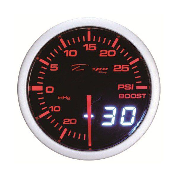 60mm BAR Digital Turbo Boost Gauge White / Amber