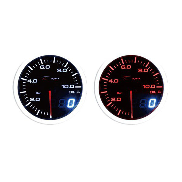 52mm BAR Digital Oil Pressure Gauge White / Amber