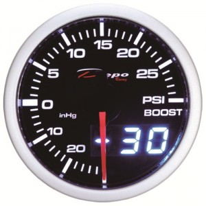 60mm BAR Digital Turbo Boost Gauge White / Amber