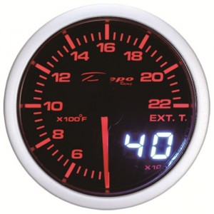 60mm Digital EGT Gauge White / Amber
