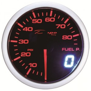 52mm BAR Digital Fuel Pressure Gauge White / Amber