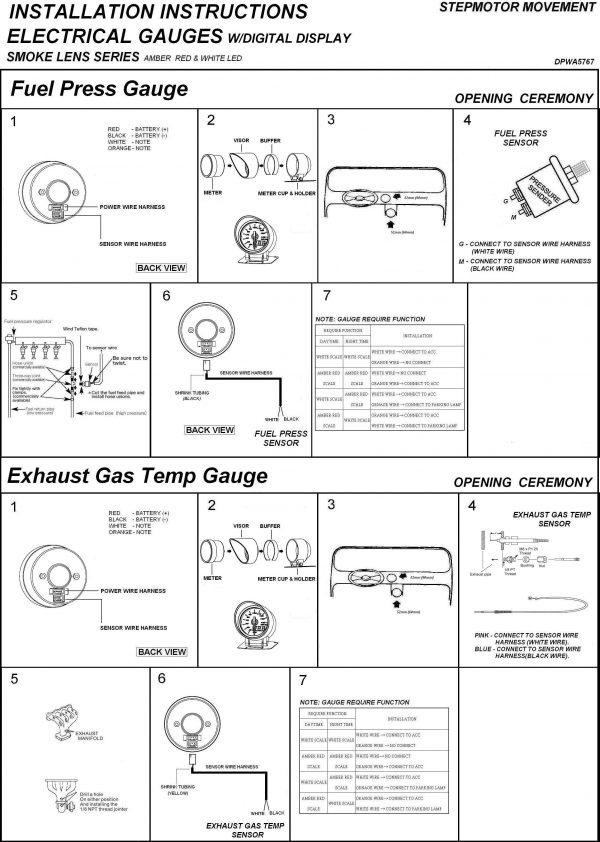 60mm BAR Digital Fuel Pressure Gauge White / Amber