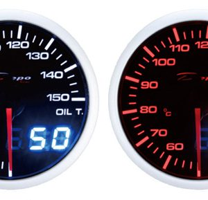 60mm Digital Oil Temp Gauge White / Amber