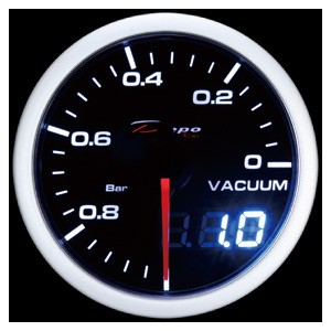 52mm BAR Digital Vacuum Gauge White / Amber