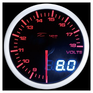 60mm Digital Volt Gauge White / Amber